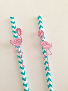 Flamingo Paper Straws ~ Let's Flamingle Party Decor ~ Luau Party Decor ~ Pink Flamingo