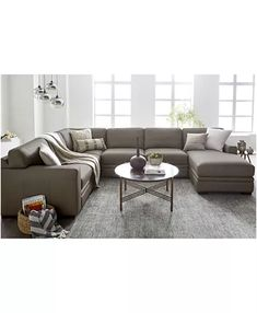 Furniture Avenell Leather Sectional and Sofa Collection, Created for Macy's & Reviews - Furniture - Macy's Couches, Sofas, Leather Couch Sectional, Living Room Tv, L Shape, Decoration, Smooth Leather, Contemporary Style, Cushions