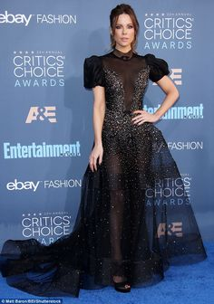 Kate Beckinsale in Reem Acra attends The 22nd Annual Critics' Choice Awards at Barker Hangar on December 11 2016