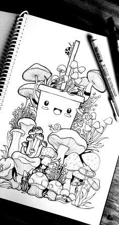 Cute Doodle Art, Doodle Art Designs, Doodle Art Drawing, Cool Art Drawings, Art Drawings Sketches, Cute Art, Drawing Ideas, Cute Kawaii Drawings, Kawaii Doodles