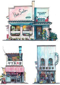 Polski artysta Mateusz Urbanowicz zachwyca swoimi akwarelowymi pracami, przedstawiającymi sklepy w Tokyo. Podobają Wam się ilustracje ? :-) Watercolor Illustration, Watercolor Paintings, Art Sketches, Art Drawings, Building Illustration, Background Drawing, Building Art, Environment Concept Art, Urban Sketching
