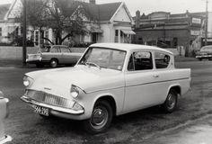 1961 Ford Anglia Saloon Circa 1961, Mansfield Avenue, Christchurch, New Zealand.