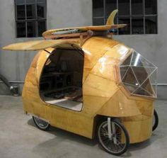 "by Jay Nelson ""The Golden Gate is an electric camper. Made with fiberglass, epoxy resin, plywood, glass, bike parts and electric motor. Motorhome, Bike Motor, Cool Campers, Custom Campers, Teardrop Trailer, Teardrop Campers, Cargo Bike, Camper Trailers, Travel Trailers"