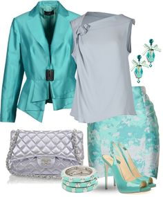 """""""Turquoise & Silver Grey"""" by yasminasdream ❤ liked on Polyvore"""