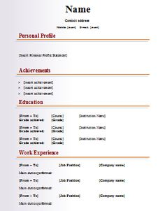 Sample Resume Templates Simple Resume Format Pdf  Simple Resume Format  Pinterest