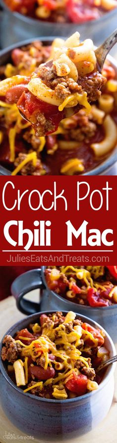 Crock Pot Hearty Chili Mac Recipe ~ Delicious Chili Slow Cooked All Day Long and Then Finished Off with Pasta! Hearty, Comforting Meal for Dinner! (Beef Recipes For Crock Pot) Crockpot Dishes, Crock Pot Slow Cooker, Crock Pot Cooking, Slow Cooker Recipes, Crockpot Recipes, Cooking Recipes, Pasta Recipes, Yummy Recipes, Goulash Recipes