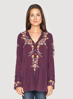 0164b79708e47a Johnny Was Clothing Plus Size Boston Embroidered Long Sleeve Tunic in Deep  Plum Purple Johnny Was