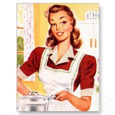 Vintage Retro Women Kitsch 50s Kitchen Magic Postcards