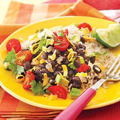 Colorful fresh toppings sprinkled on Black Beans and Rice make this one-dish meal a perfect balanced and filling weekday dinner. Rice Recipes, Vegetable Recipes, Mexican Food Recipes, Vegetarian Recipes, Cooking Recipes, Healthy Recipes, Veggie Dishes, Veggie Meals, Meat Recipes