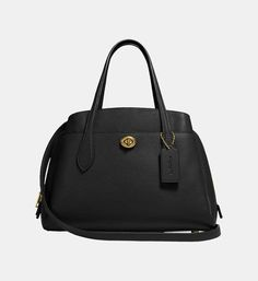 Sac cabas Lora Medium 30 Coach Noir | Galeries Lafayette Polished Pebble, Leather Design, Lafayette, Pebbled Leather, How To Look Better, Dillards, Fashion Bags, Tote Bag, Handbags