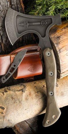 TOPS Knives Hammer Hawk Tactical Tomahawk Axe with Backup Knife Espinoza Design HAMH-02