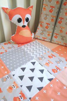 Couette lit patchwork avec pêche bébé renard avec housse par Danoah
