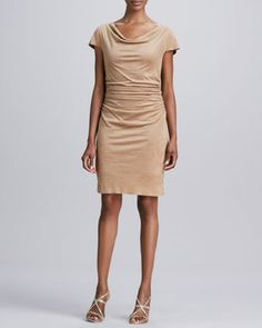 Draped-Neck+Faux-Suede+Dress+by+Kay+Unger+New+York+at+Neiman+Marcus.