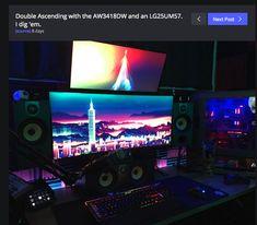 Good Images for ultrawide setups Pc Setup, Desk Setup, Gaming Setup, Computer Build, Gaming Computer, Computer Rooms, Game Room Design, Geek Decor, Custom Pc