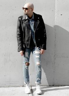 Leather Jacket + Denim on Distressed Denim