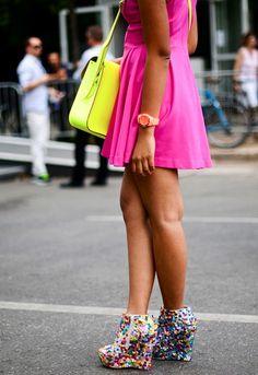 Neon Bag + Little Neon Dress + Rainbow Wedges = Funness