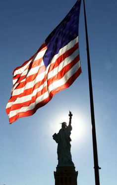 USA American Flag & Silhouette of Statue of Liberty