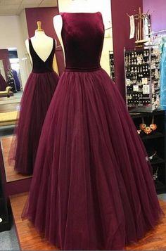 simple burgundy backless long prom dresses, elegant backless tulle evening gowns, unique velvet top party dresses