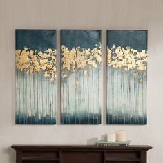 Madison Park Midnight Forest Gel Coat Canvas With Gold Foil... ($72) ❤ liked on Polyvore featuring home, home decor, wall art, teal, forest home decor, teal home decor, triptych wall art, canvas home decor и teal wall art