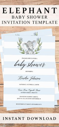 Elephant baby shower invitation printable for boys by LittleSizzle. Click through to create yours or re-pin for later! Blue elephant baby shower invitations. Printable invitation for elephant themed baby shower. Blue elephant boy baby shower invitation. Watercolor elephant invites for boys. DIY baby shower invitation for boy. Create your own boy baby shower invitations, simply download, edit and print in just minutes! #babyshowerideas #babyshowerinvitations #template #printable #elephant…