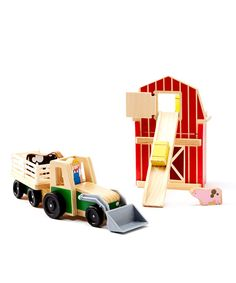 Tiny farmers can tend the animals with this charming play set. Scoot animals around in the tractor, or load hay in the lifter! The imaginative play will be endless with this unique set! Includes barn, farmer, cow, tractor hay bale, pig and barn20.9'' W x 5.1'' H x 5.1'' 4.55'' DPlywood / wood