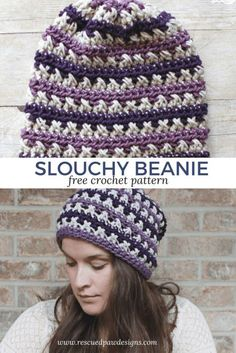 Crochet Afghans Easy Make this easy Crochet Slouchy Beanie Today! The Free slouchy crochet beanie pattern is available from Rescued Paw Designs! Crochet Flower Patterns, Afghan Crochet Patterns, Crochet Afghans, Free Crochet, Crochet Hats, Hat Patterns, Knit Hats, Crochet Designs, Crochet Flowers