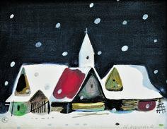 Christmas and winter time by famous Slovak artist - Vladimir Kompanek - Christmas II (1995)   kultura.sme.sk