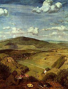 ☼ Painterly Landscape Escape ☼ landscape painting by Hans Thoma | Landscape at Taunus, 1890