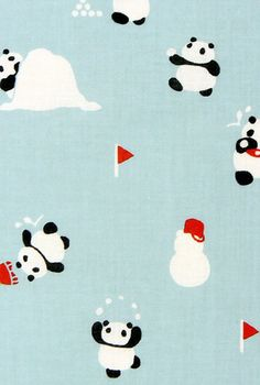 Japanese Tenugui Towel Fabric, Hand Dyed Fabric, Kawaii Panda Design, Snowman, Winter, Emerald Blue, Cotton 100%, Wall Art Hanging, JapanLovelyCrafts