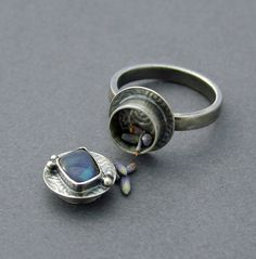 Australian Boulder Opal Poison Ring Silver Locket Jewelry Prayer Locket. $90.00, via Etsy.