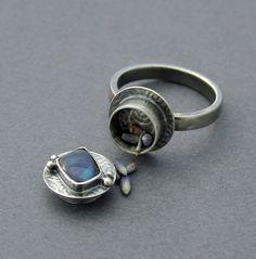 Australian Boulder Opal Poison Ring Silver Locket Jewelry Prayer Locket. $90.00, via Etsy.