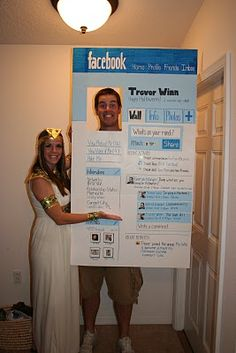 facebook costume. Brilliant. My status will read: I think it's so stuipd that the trunk or treat is on Thursday instead of Friday all because there's an effing BYU game!