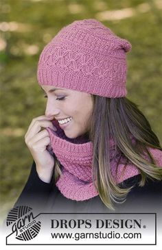 Raspberry Truffle - The set consists of: Hat and neck warmer with textured pattern, worked top down. Sizes S – L.  The set is worked in DROPS Puna. Free knitted pattern DROPS 182-8
