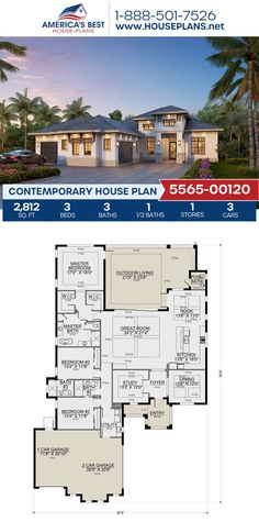 Covered in Contemporary details, Plan 5565-00120 features 2,812 sq. ft., 3 bedrooms, 3.5 bathrooms, a breakfast nook, a study and a covered porch. Visit our website for more details about this design. House Layout Plans, House Layouts, Contemporary House Plans, Contemporary Bathrooms, Floor Plan Drawing, Floor Framing, Best House Plans, Flat Roof, Build Your Dream Home