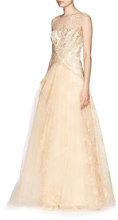 Notte By Marchesa Beige Metallic Embroidery Tulle Gown      jaglady