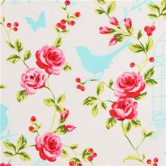 white animal fabric by Timeless Treasures bird cage rose