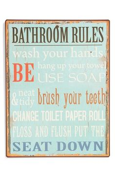 VIP INTERNATIONAL 'Bathroom Rules' Wall Art available at #Nordstrom