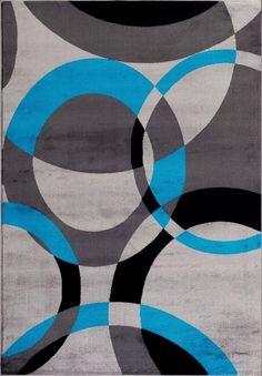 Turquoise Gray Black Geometric Contemporary Rugs