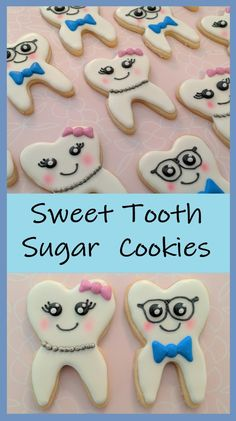 Tutorial for adorable tooth sugar cookies! Great as a gift to the dentist in your life or as a gift from the tooth fairy!