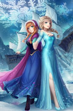 "The characters Elsa and Anna from the Disney movie ""Frozen,"" by Kyuriin on deviantART. Frozen Disney, Walt Disney, Anna Frozen, Disney Pixar, Disney Amor, Anna Et Elsa, Film Frozen, Frozen Art, Disney Animation"
