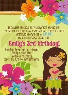 Hawaiian Luau Birthday Invitations