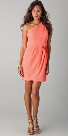 Coral one shoulder bridesmaid dress @Jessica Koontz