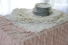 Set Of Two..Soft White Ruffle Linen Placemats