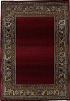 Fall Border Red Area Rug -