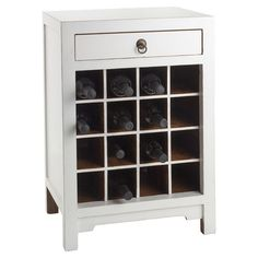 Handcrafted vintage wood cabinet in distressed white with a sixteen-bottle wine rack. (Would be nice in another color with a glossy finish)