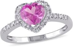 Amour 1-ct. T.G.W. Pink Sapphire Heart Ring-6,SILVER/PINK | 20% off