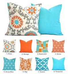 Orange Turquoise Pillow Cover, Arrow Medallion Blue Floral Yellow Pillow Living Room Turquoise, Bedroom Turquoise, Turquoise Pillows, Bedroom Orange, Yellow Pillows, Grey Pillows, Patio Pillows, Kids Pillows, Grey Pillow Covers