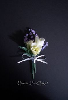 White Rosebud Boutonniere with Lavender Groom or Groomsmen