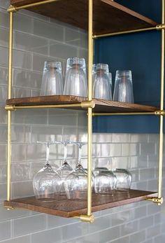 Glass shelves In Bathroom Towel Racks - Glass shelves Brass - Glass shelves For Perfume - Floating Glass shelves Bookshelves - Hanging Glass shelves Bar Areas Plywood Furniture, Design Furniture, Suspended Shelves, Hanging Shelves, Hanging Bar, Bar Shelves, Kitchen Shelves, Diy Ikea Hacks, Brass Shelving
