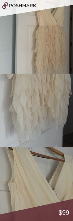 Ark & Co cream cocktail wedding bridesmaid dress S New with tags feathered off white dress over the knee pleated top. Never worn. Purchased at a high end vintage shop. Ark & Co Dresses Mini